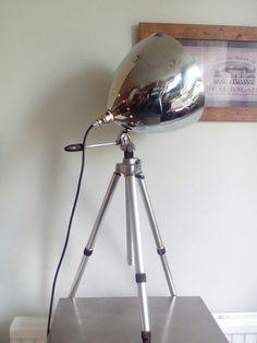Refurbished factory pendant light on a vintage aluminium tripod. By Mike Bainbridge.
