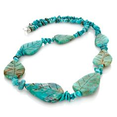 "Jay King Carved Turquoise ""Leaves"" 24"" Necklace"