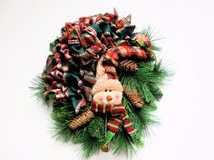 SOLD! Christmas Wreath Snowman Rustic Country by SandyNewhartDesigns