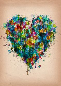 Postcards -Watercolour Heart Splatter Art Print by Me Heart Painting, Love Painting, Watercolor Heart Tattoos, Artistic Visions, Splatter Art, Art Activities For Kids, Texture Art, Heart Art, Picture Design