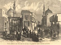 The removal of the sick and dead during a cholera epidemic in Cairo, Egypt, in the late 1800s.