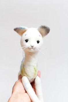 White Felt Cat  Frost. Art Toy Cat plush Puppet by TwoSadDonkeys