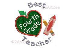 Fourth Grade Teacher Best Teacher Machine Embroidery Applique Design Apple Crayon Pencil Heart by 2artzee on Etsy