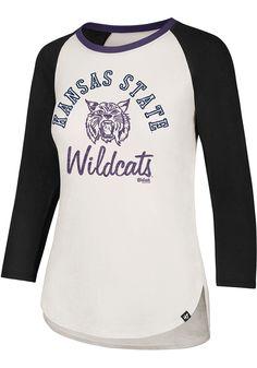 '47 K-State Wildcats Womens White Splitter Long Sleeve Crew T-Shirt. '