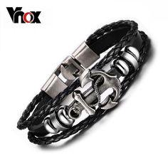 Charme Punk Style Noir Bracelet Silicone Bracelet en acier inoxydable pour hommes Bijoux