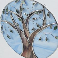 Spring Tree of Life Stained Glass Suncatcher Home by FiveSparrows,