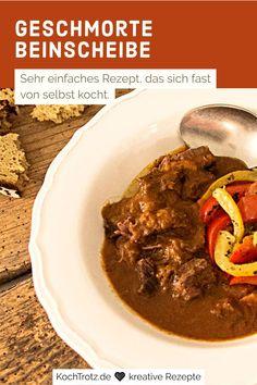 Das Rezept für geschmorte Beinscheibe ist sehr einfach und kocht sich fast von alleine. Das Fleisch wird herrlich zart und die Soße ist ein Traum. Ein einfacher, vielfältiges und günstiges Gericht. Es muss nicht immer das teure Fleisch vom Tier sein.