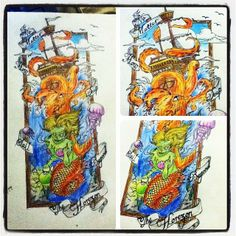 """Finally finished #colouring in this #artwork of a #ship #tattoo on an A3 paper. With a #giant #octopus #jellyfish and a #zombie #mermaid coming out of a #frame with a #quote that says """"no matter how deep sail beyond the horizon"""" #ink #art #tattoos #draw #drawing #sketch #sketching #tagsforlikes #colourful #InstaFrame"""
