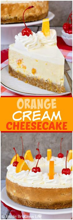Orange Cream Cheesecake Orange Cream Cheesecake – this creamy orange cheesecake is loaded with orange chunks and has a crunchy nut crust that makes it taste amazing. Easy dessert recipe to make for spring and summer parties and picnics. Best Dessert Recipes, Cheesecake Recipes, Cupcake Recipes, Baking Recipes, Sweet Recipes, Delicious Desserts, Cupcake Cakes, Summer Cheesecake, Eggnog Cheesecake