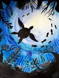 Under The Sea Drawings, Art Drawings For Kids, Kids Artwork, Ocean Animal Crafts, 4th Grade Art, Acrylic Artwork, Painting Workshop, Diy Canvas Art, Art Lesson Plans