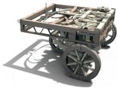 """Automovil Los diseños de Da Vinci para un vehículo autopropulsado fueron revolucionarios para su época. Su """"coche"""" de madera, se accionaba por la interacción de muelles con ruedas dentadas."""