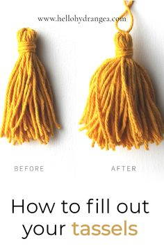 Sometimes I like to add a little something besides fringe to the bottom of my tapestries. I learned very quickly that the big, beautiful tassels you see don't happen automatically unless you use a loose spun fiber such as roving. The key to a great tassel is that most of the volume has to happen under the band. I'll share my secret with you in this tutorial! Diy Arts And Crafts, Decor Crafts, Crafts To Make, Crafts For Kids, Paper Crafts, Diy Crafts, Pom Pom Tutorial, How To Make A Pom Pom, Diy Projects For Beginners
