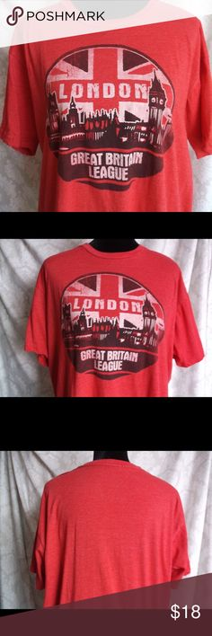 "London ""Great Britain League"" T-Shirt XL London ""Great Britain League"" T-Shirt XL  60 % Cotton  40% Polyester  XL (very loose fit) Machine wash Cold  Pre Owned, no marks or defects… VERY SOFT tee Please let me know if you have any questions…. HAPPY to receive reasonable offers and encourage BUNDLES!! Thank you for visiting my closet! Shirts Tees - Short Sleeve"