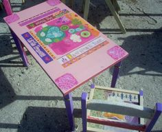 """Perfect lil' Princess table and chair set. I loved it because it's real wood! I just found an end table, redid it with purples & pink shades.  Then I found two kids chairs at another place and they fit great with it, so I redid those two.  On chairs, besides just paint, I did decoupage on back runs with some white lace I had. The new set came out great though!  It was much more sturdy than buying some of the new wood, pressed """"wood"""" stuff or aluminum like new ones today."""