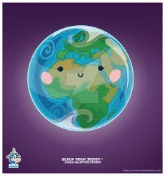 Kawaii Earth Eastern Hem by KawaiiUniverseStudio.deviantart.com on @DeviantArt