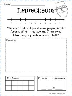 Subtraction Word Problems (March) - Kindergarten (Common Core) Cute subtraction word problems with a drawing area, number line, ten frame, and equation for solving each problem - $