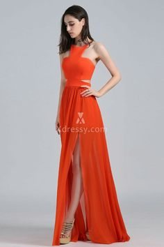 Xdressy Jamie Chung Orange Halter Cutout Lace Up Unique Prom Dress DB3 ...