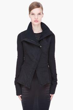 GARETH PUGH black asymmetric Coated Cotton Tailcoat