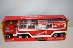 BUDDY L COCA COLA MACK TRUCK WITH TRAILER TIN AND PLASTIC VINTAGE Coca Cola Kitchen, Cocoa Cola, Always Coca Cola, Drinking Water, Coke, Tin, Childhood, Trucks, Coca Cola