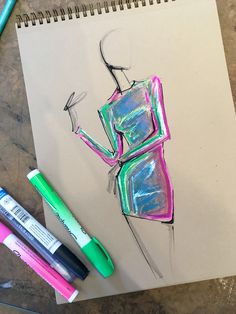 Iridescent practice by Lara Wolf #fashion #illustration #larawolf #iridescent