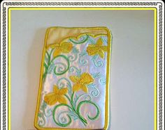 Daffodil Eyeglass Case Embroidered Handmade