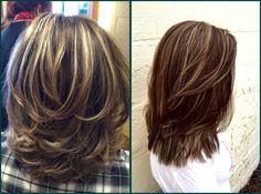 Pin on cabelo Medium Layered Haircuts, Medium Hair Cuts, Medium Hair Styles, Curly Hair Styles, Natural Hair Styles, Hair Color Balayage, Ombre Hair, Cabello Hair, Haircut For Thick Hair