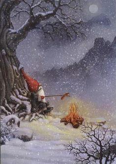 .Cute elf roasting a hot dog beneath a tree