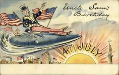 Uncle Sam Flying Submarine 4th Fourth of July Statue of Liberty Postcard jrf