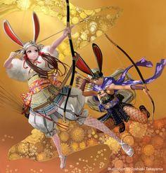 As lindas mulheres nas ilustrações de fantasia, animes e games de Toshiaki Takayama - Arqueiras medievais com toques de anime