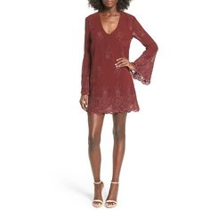 Women's Wayf 'Halifax' Embroidered Bell Sleeve Shift Dress ($47) ❤ liked on Polyvore featuring dresses, burgundy, embroidered dress, white eyelet dress, white boho dress, deep v neck dress and bell sleeve shift dress