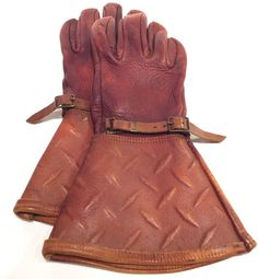 Brown Leather Motorcycle Gloves Steampunk Style Elk Skin