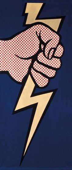 Thunderbolt By Roy Lichtenstein  Media Used: Oil and Magna on Canvas  Subject Matter: Person holding Thunderbolt   Dominant Elements: Shape and Texture   Dominant Principles: Contrast and Emphasis