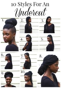 10 Hair Styles for an Undercut Undercut styles, box braid styles, natural hair from AuthenticallyB. Shaved Side Hairstyles, Undercut Hairstyles, Box Braids Hairstyles, Cool Hairstyles, Hair Undercut, Tapered Natural Hair, Pelo Natural, Undercut Natural Hair, Natural Twists