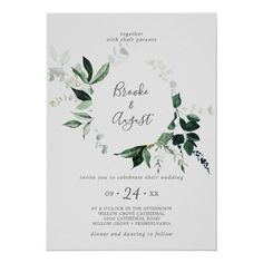 Emerald Greenery Wreath | Gray Wedding Invite with dark green moody watercolor leaves and eucalyptus with a modern woodland boho feel on a light silver grey background. Click to customize with your personalized details today. Backyard Wedding Invitations, Beautiful Wedding Invitations, Wedding Invitation Sets, Custom Invitations, Invitation Design, Invite, Watercolor Leaves, Floral Watercolor, Rustic Save The Dates