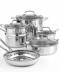 $169 Cuisinart Chef's Classic Stainless Steel Cookware, 11 Piece Set - Cookware - Kitchen - Macy's