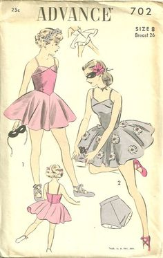 Advance 702 1950s Girls Ballerina Costume Pattern Basque Waist Dress and Panties Childs Vintage Sewing Pattern by patterngate.com