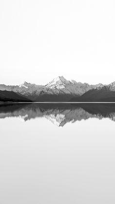 Reflection Lake Blue Mountain Water River Bw White #iPhone #6 #plus #wallpaper