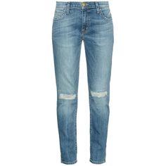 Current/Elliott The Fling low-slung boyfriend jeans ($86) ❤ liked on Polyvore featuring jeans, pants, bottoms, pantalones, trousers, mid indigo, denim jeans, current elliott boyfriend jeans, boyfriend jeans and distressed denim jeans