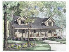 Country Log Home Plan, 025L-0032 1800+ Sq ft