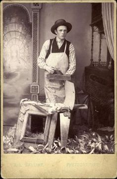 ca. 1860-90, [cabinet card, portrait of a frame maker with his tools], A. L. Walline