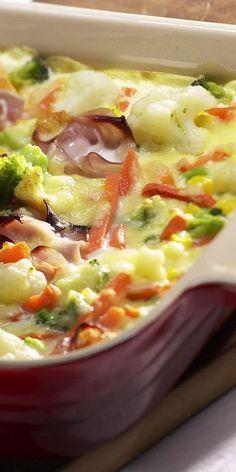 Das Farmergratin wird dich mit viel Gemüse, saftigem Schinken und herzhaftem Käse begeistern! Außerdem ist es einfach in der Zubereitung und du kannst es leicht nachmachen. Wir wünschen dir einen guten Appetit.