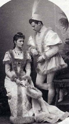 Sister and brother Alix (later Empress Alexandra Feodorovna of Russia) and Ernst of Hessen. Winter 1890-91. Renaissance costumes./ qw