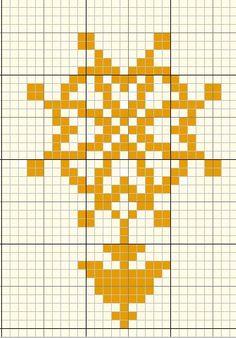 """A la demande d'une croixpinette sur le forum """"Le Point compté"""", j'ai vite crée cette petite grille qui représente la croix huguenote J'espère qu'elle correspondra à sa demande!"""