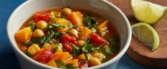 This Moroccan stew comes together really quickly: There's little prep work aside from measuring, especially if you buy pre-cubed butternut squash. Plant Based Eating, Plant Based Diet, Plant Based Recipes, Whole Food Recipes, Soup Recipes, Vegetarian Recipes, Healthy Recipes, Healthy Soups, Free Recipes