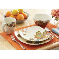 Better Homes and Gardens Floral Spray 16-Piece Square Dinnerware Set, Multi-Color -- Love this!