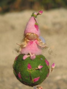 Waldorf inspired needle felted mobile  rose fairy by Made4uByMagic, $52.00