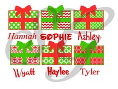 Personalized Christmas Present iron on decal for shirt - pinned by pin4etsy.com