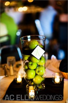 Green wedding centerpiece - could do this with oranges