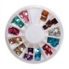 Rhinestones 12 colors Design 3D Decoration Big Glitters Wheel Tips Nail Art (30% OFF │ $4.63)