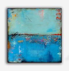 Original Abstract Painting Blue Urban